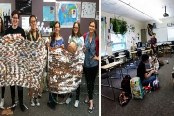 High School Students Help the Homeless by Transforming Plastic Bags into Blankets