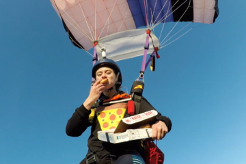 This Skydiver Got Hungry while 2000 Feet in the Air, She Gets a Pizza Delivery