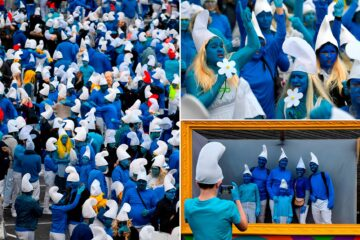 In Midst of Coronavirus Outbreak, 3500 People Dressed as Smurfs Gather in France to Beat World Record